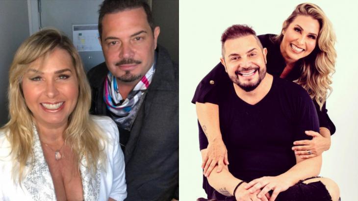Montagem com fotos do casal Conrado e Andréa Sorvetão