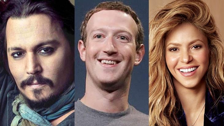 Johnny Deep, Mark Zuckerberg e Shakira