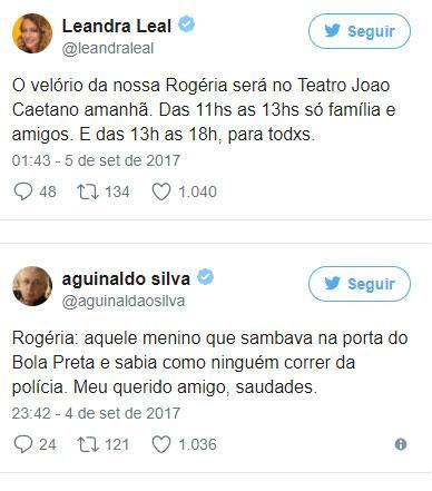 Famosos prestam homenagens e lamentam a morte de Rogéria