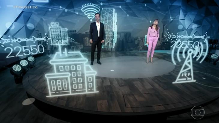 Apresentadores Poliana Abritta e Tadeu Schmidt ao vivo no Fantástico