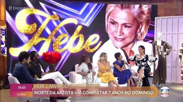 """Fátima Bernardes usa vestido de Hebe e leva sofá da apresentadora para o \""""Encontro\"""""""