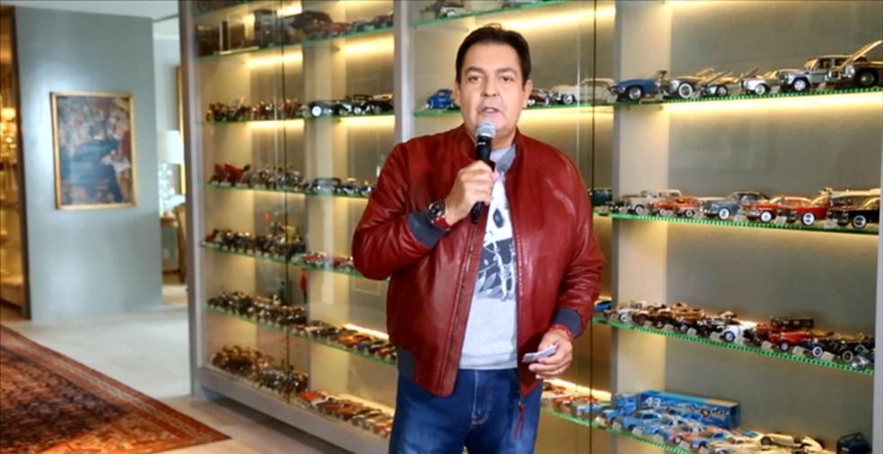 O apresentador Faustão durante o seu programa na Globo