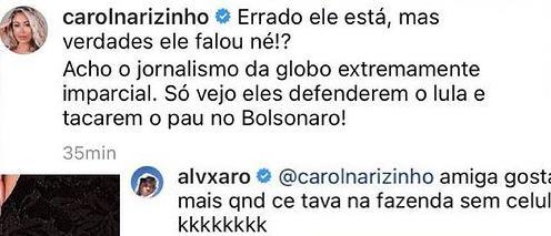 """Carol Narizinho apoia Bolsonaro após ataque à Globo: \""""Só vejo defenderem o Lula\"""""""
