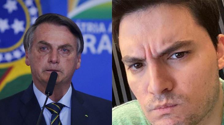 Jair Bolsonaro chorando (esquerda) e Felipe Neto bravo (direita) em imagem montagem