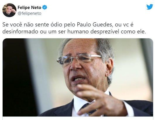 """Felipe Neto detona Paulo Guedes após deboche sobre aumento da energia: \""""Desprezível\"""""""