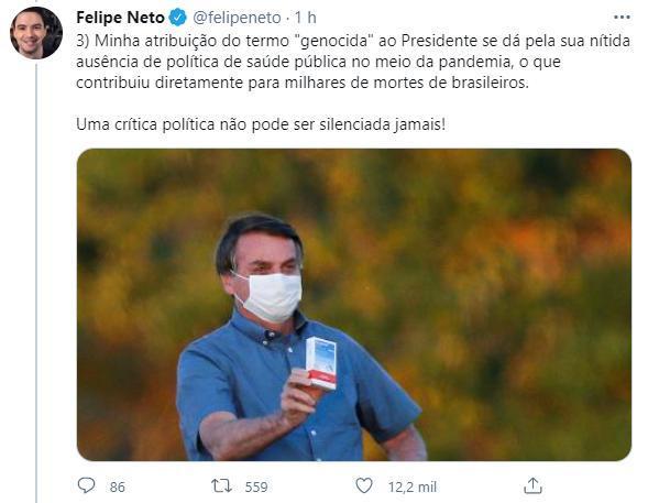 Felipe Neto ironiza delegado que o intimou após denúncia do filho de Bolsonaro