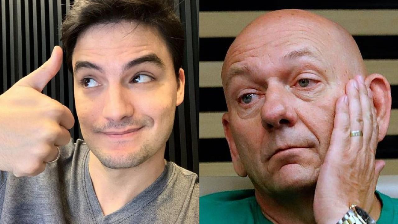 Felipe Neto (à esquerda) e Luciano Hang (à direita) em foto montagem