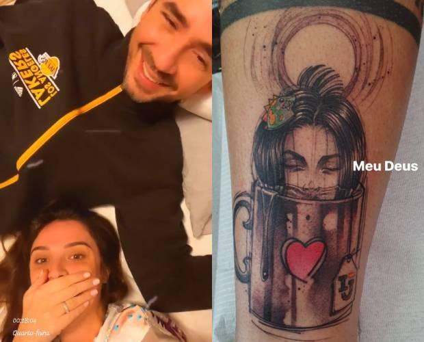 """Felipe Andreoli surpreende Rafa Brites com tatuagem: \""""Quem é essa?\"""""""