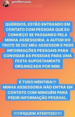 """Fernanda Gentil é alvo de criminosos virtuais e avisa: \""""Fiquem atentos\"""""""