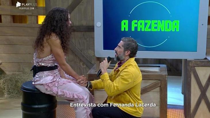 Fernanda Lacerda se descontrola, cai no choro e assusta Marcos Mion em entrevista
