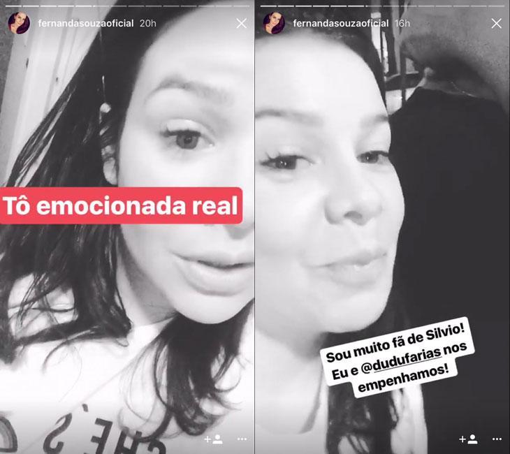 "Após 20 anos, Fernanda Souza reencontra Silvio Santos: \""Tô muito emocionada\"""