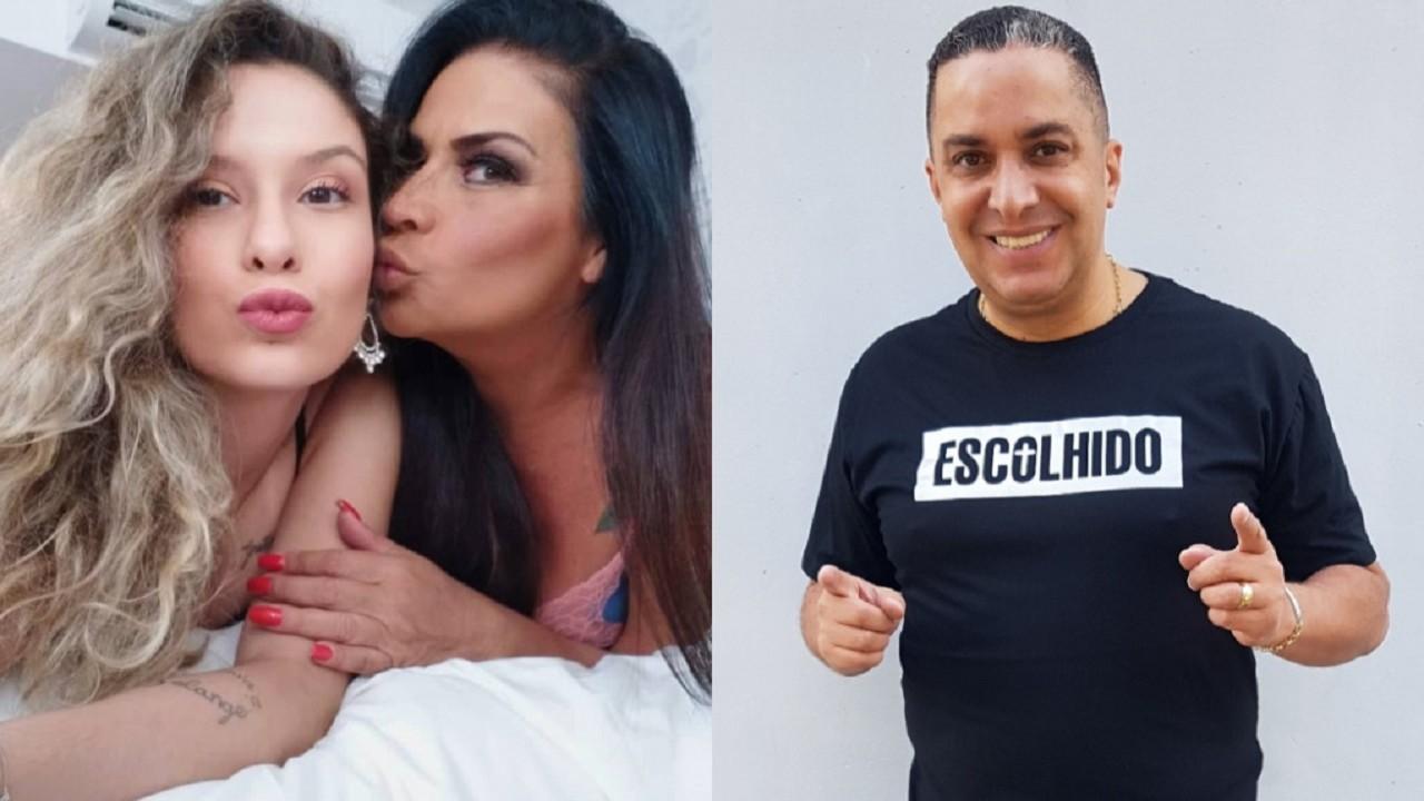 """Montagem de Solange Gomes dando uim beijo no rosto da filha Stephanie e do cantor Waguinho, pai da jovem com uma camisa preta escrita """"Escolhido"""""""