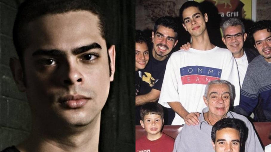 À esquerda, Cícero Chaves; à direita, o produtor fonográfico e DJ em foto com o pai Chico Anysio e os irmãos