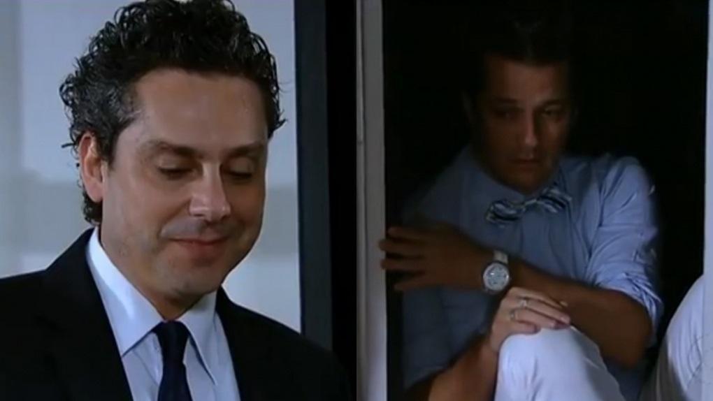 Alexandre Nero e Marcelo Serrado em cena do último capítulo de Fina Estampa, em reprise na Globo