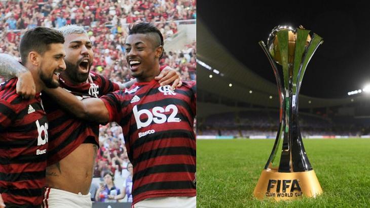Jogadores do Flamengo e título do Mundial da Fifa