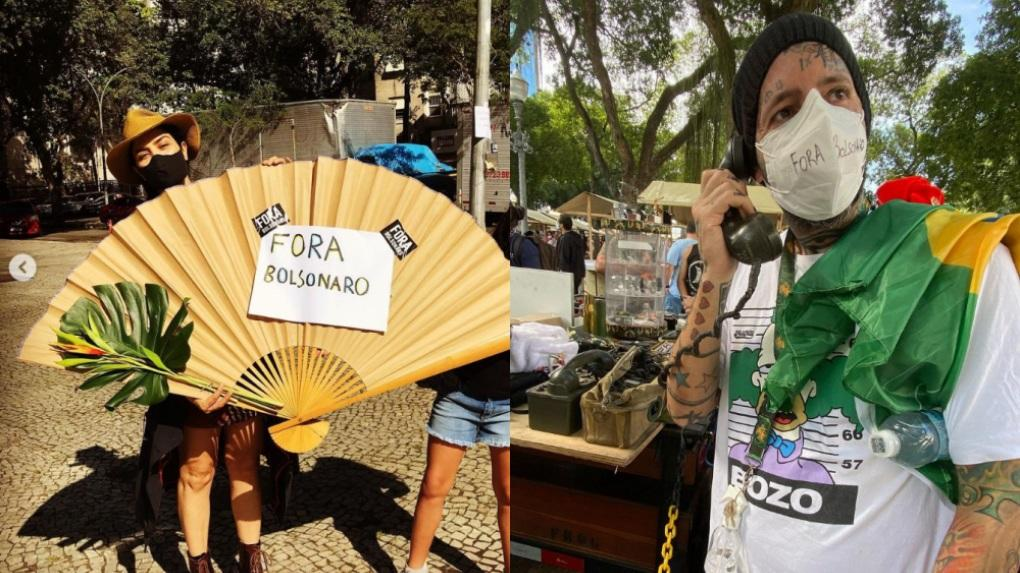 Letícia Sabatella e Tico Santa Cruz em protestos contra o presidente Jair Bolsonaro