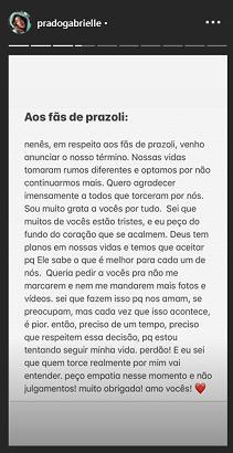 """Gabi Prado revela fim do seu namoro com João Zoli: \""""Respeitem essa decisão\"""""""