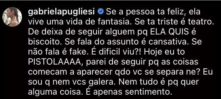 """Gabriela Pugliesi para de seguir o ex-marido no Instagram: \""""Estou pistola\"""""""