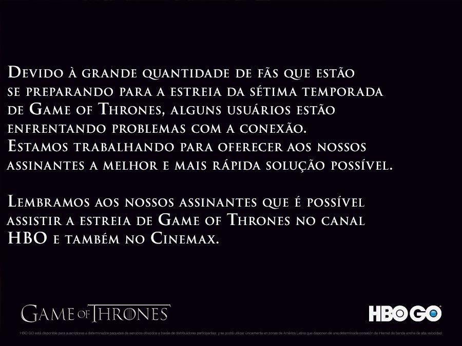 """Estreia de \""""Game of Thrones\"""" derruba HBO Go e emissora pede desculpas"""