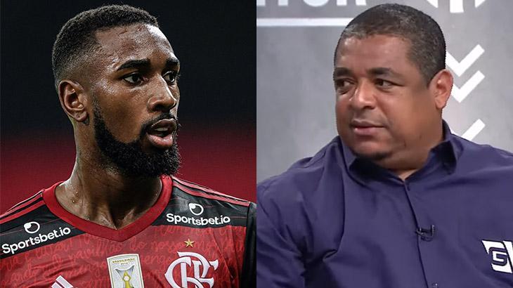 Gerson, jogador do Flamengo, e Vampeta, ex-jogador e comentarista da Gazeta