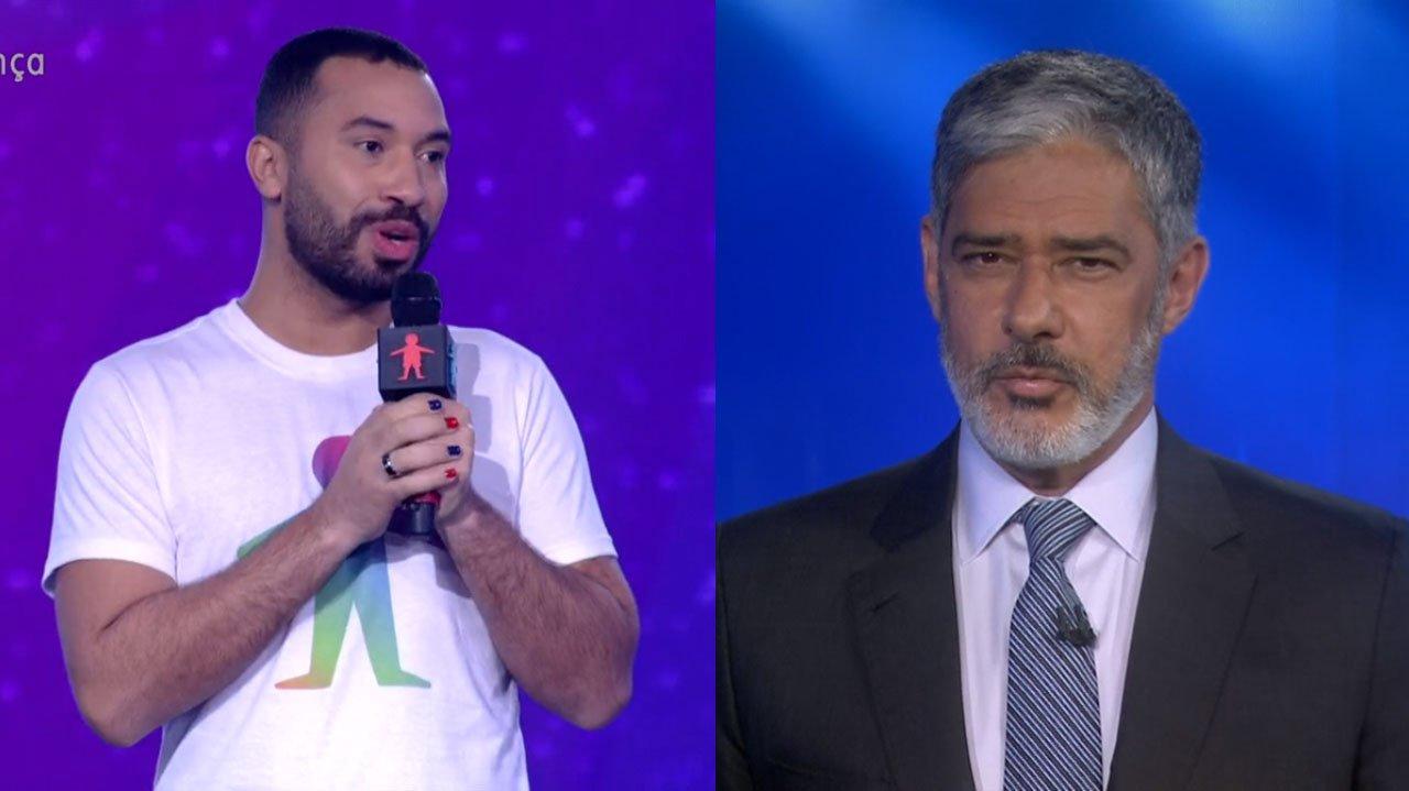Gil do Vigor com microfone na mão; william bonner no jornal nacional