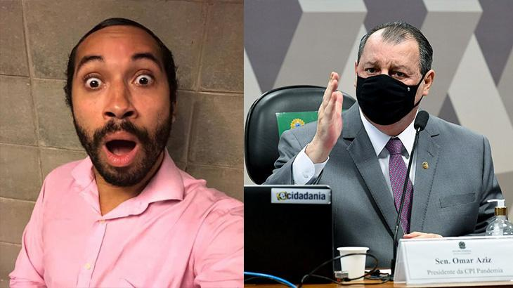 Gil do Vigor de boca aberta; Omar Aziz na CPI da Covid