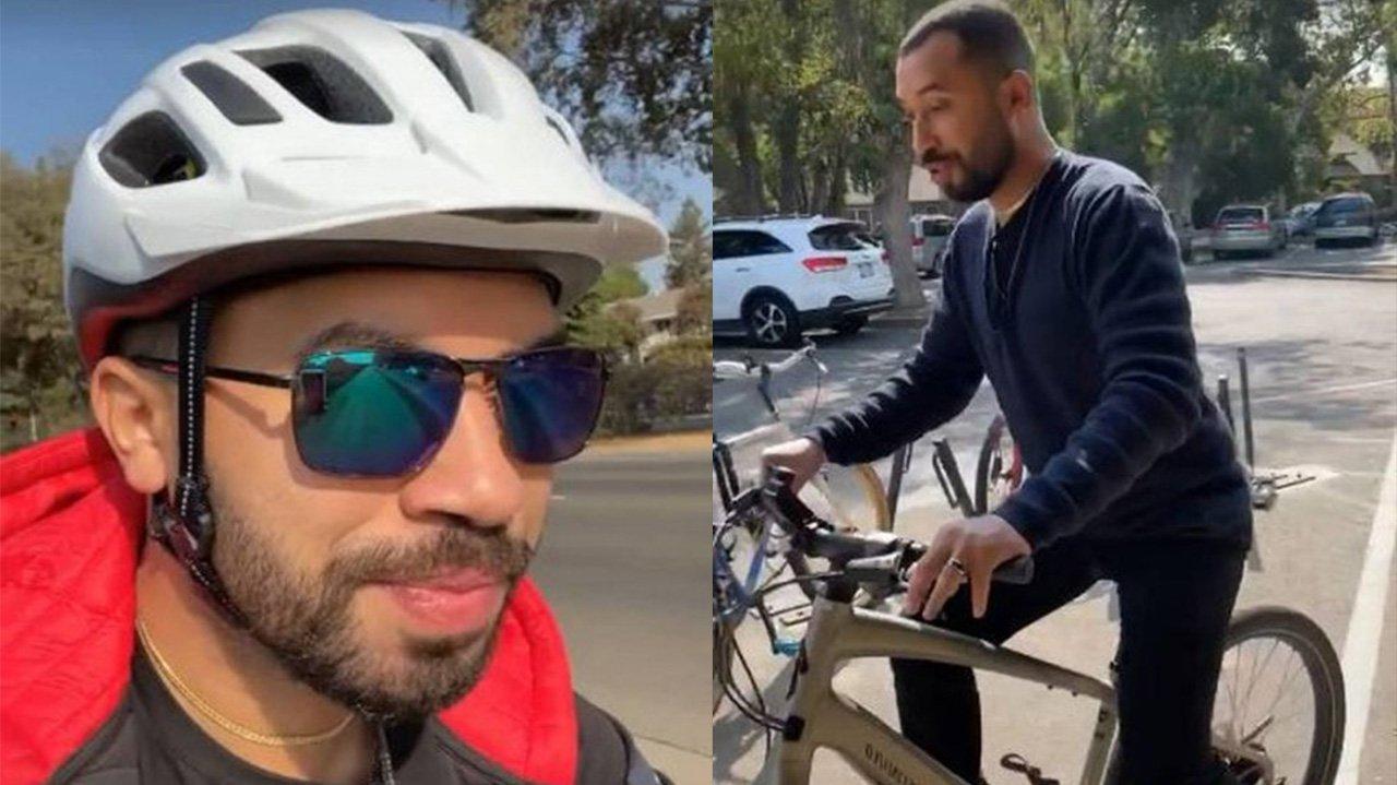 Gil do Vigor de capacete; Gil do vigor andando de bicicleta