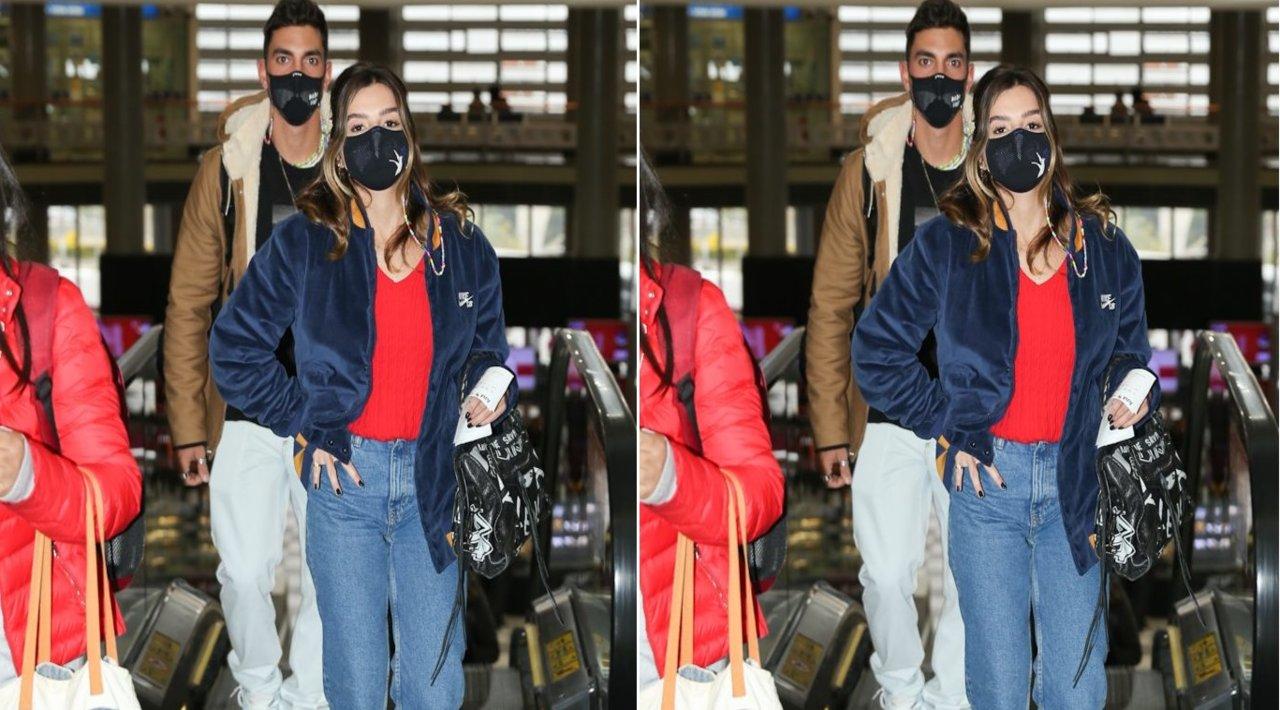 Giovanna Lancellotti e Gabriel David andando no aeroporto de congonhas