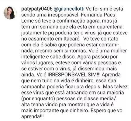 "Coronavírus: Giovanna Lancellotti mantém agenda e é criticada: \""Irresponsável\"""
