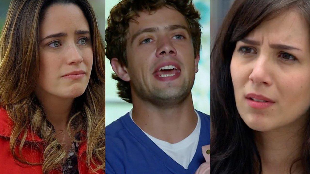 Montagem com a tela dividida com Ana, Rodrigo e Manuela, de A Vida da Gente