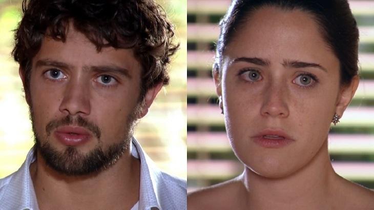 Montagem de fotos com as expressões de tensão de Ana e Rodrigo em cena de A Vida da Gente