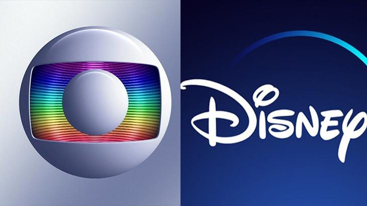 Logotipos da Globo ( à esqueda) e Disney + ( à direita) na montagem do NaTelinha