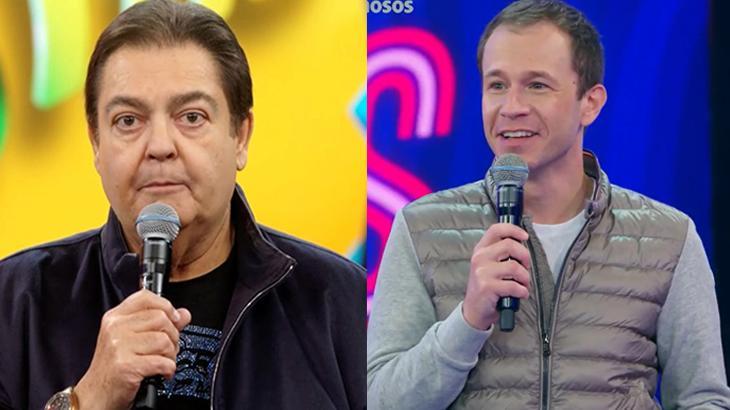 Faustão e Tiago Leifert segundo o microfone no palco dos seu programas na Globo em montagem do NaTelinha
