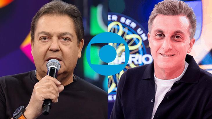 Faustão Silva segurando microfone na Globo, à esquerda, e Luciano Huck sorrindo para fotos no palco do Caldeirão, à direita, montagem NaTelinha