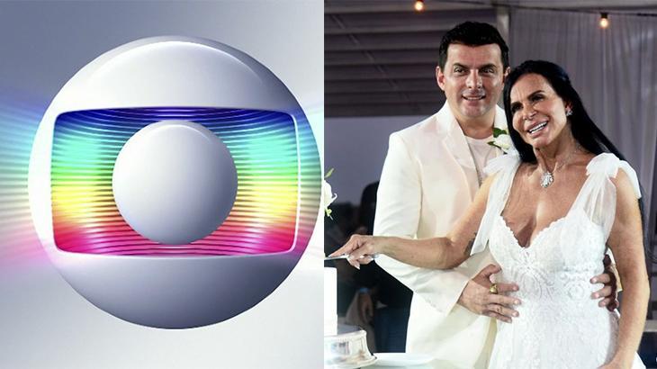 Montagem com o logotipo da Globo e o novo casamento da Gretchen