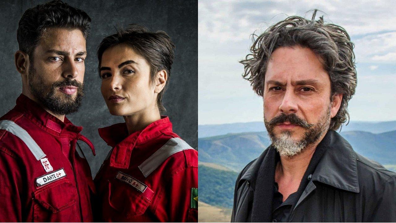 Protagonistas de Ilha de Ferro (à esquerda) e Alexandre Nero (à direita) em foto montagem