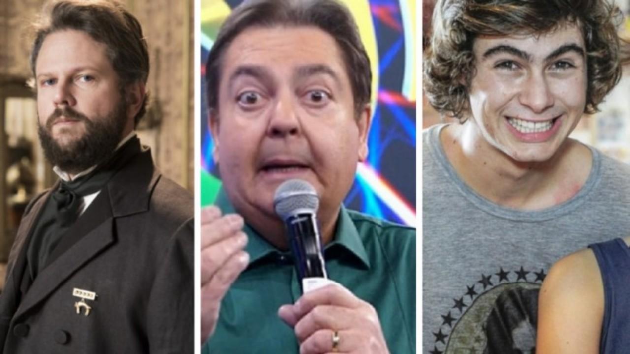Selton Mello como Imperador, Faustão e Rafael Vitti sorrindo