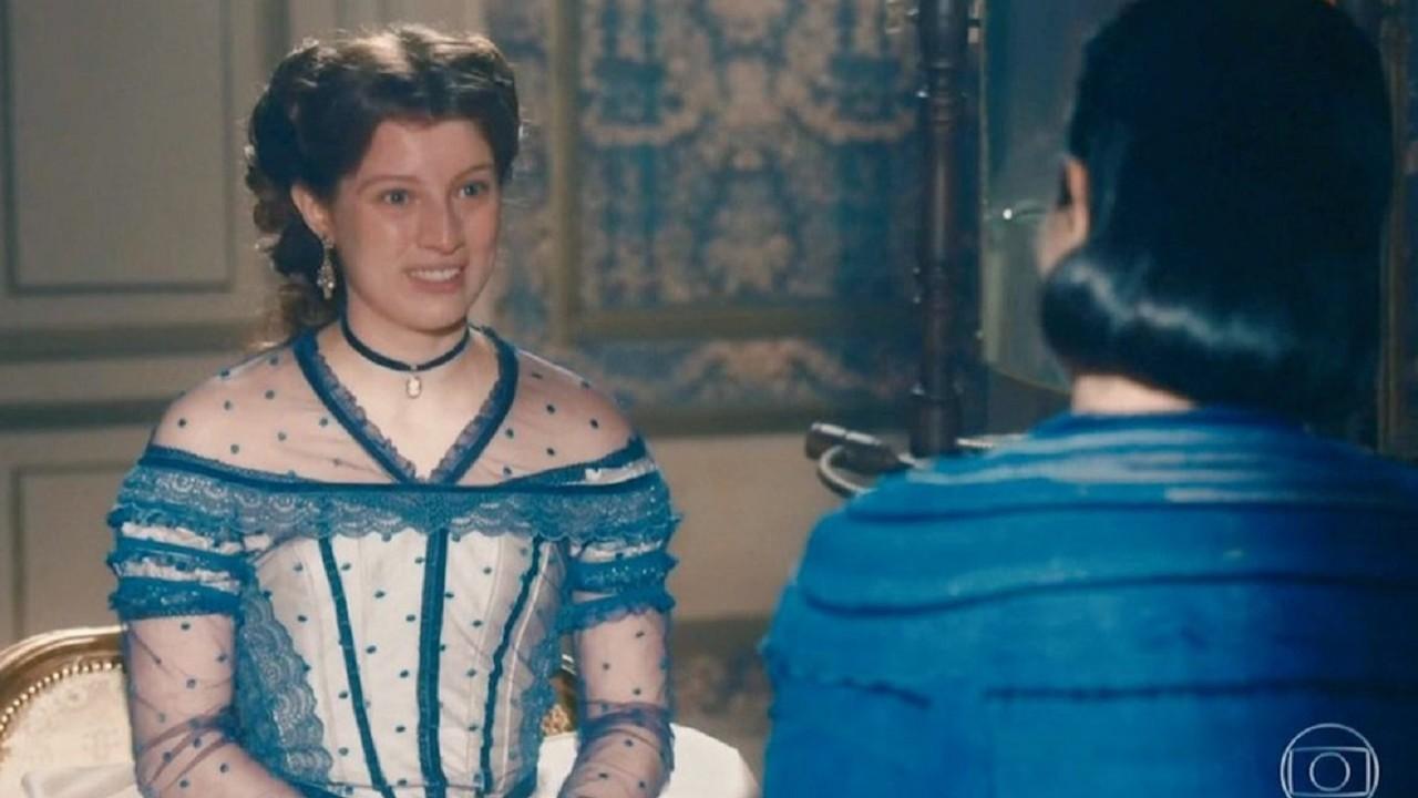 Cena de Nos Tempos do Imperador com a princesa Isabel olhando para a mãe
