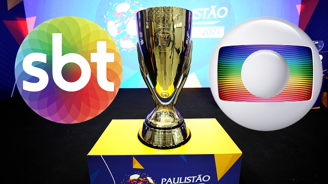 Logotipo do SBT e Globo no meio da taça do Campeonato Paulista em montagem do NaTelinha