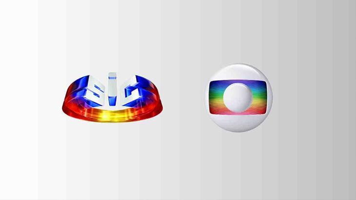 O logotipo da TV portuguesa, SIC, ao lado do símbolo da Globo