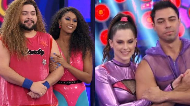 Montagem com a tela dividida nas apresentações de Tiago Abravanel e Sophia Abrahão na Super Dança dos Famosos