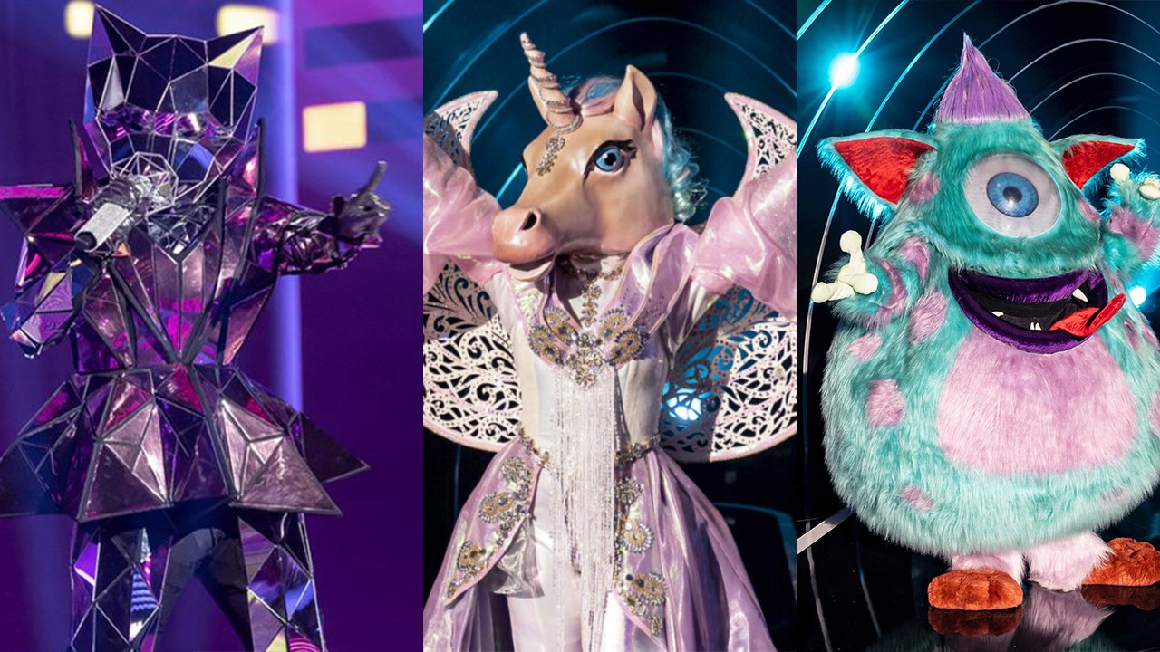 As fantasias da Gata Espelhada, Unicórnio e o Mostro no The Masked Singer em montagem do NaTelinha