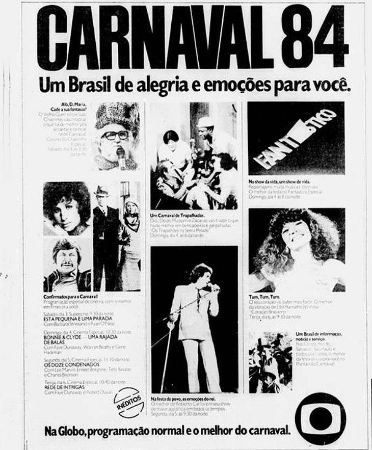 Há 37 anos, Globo também ficava sem exibir Carnaval, mas por culpa da Manchete