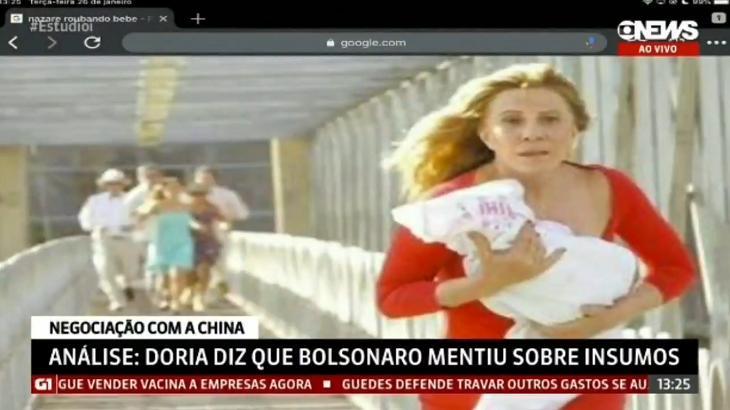 Cena de Nazaré correndo na ponte exibida na GloboNews