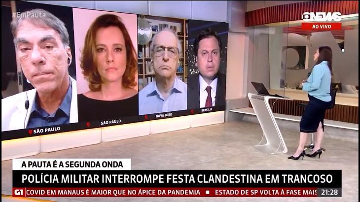 Comentaristas e apresentadora da GloboNews