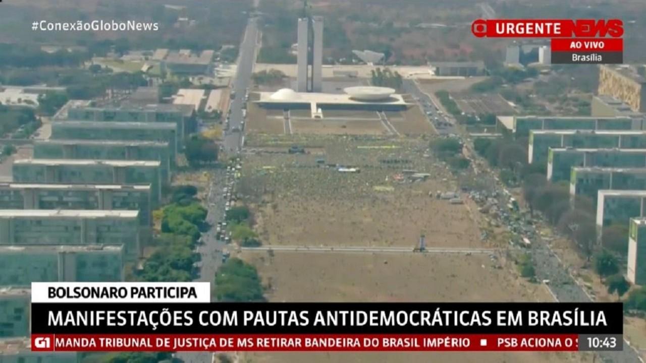 Imagem aérea da manifestação de 7 de setembro exibida pela GloboNews