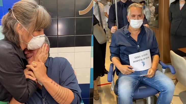 Orlando Morais saindo do hospital junto com Glória Pires