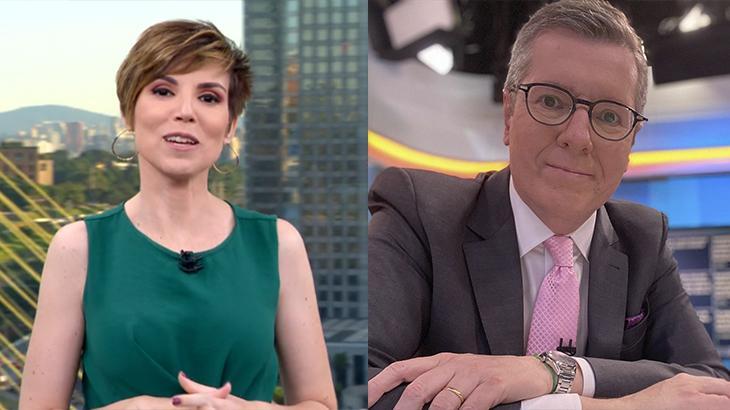 Montagem com a âncora Glória Vanique (foto à esquerda) e Márcio Gomes (foto à direita) na bancada dos telejornais da Globo