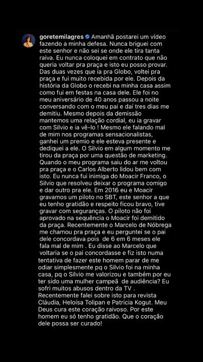 Gorete Milagres rebate Carlos Alberto de Nóbrega após ser apontada como pior colega