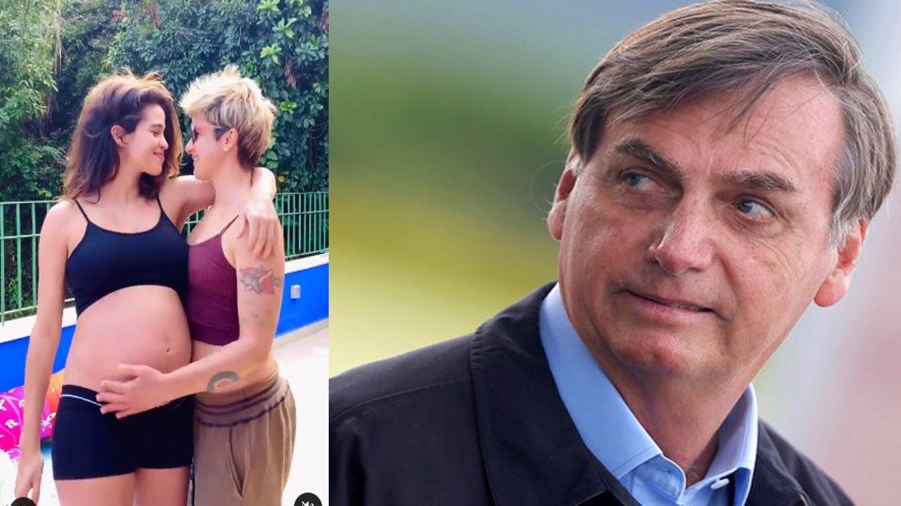 Nanda Costa e Lan Lanh se entreolhando; Bolsonaro desconfiado